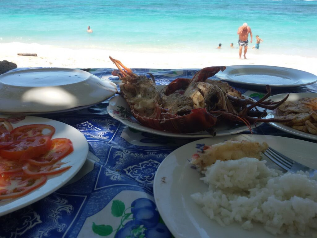 Lobster overlooking the ocean where the good people of Playa Maguana caught it just minutes ago.