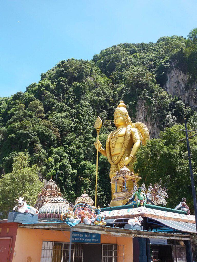 Lord Murugan watching over the Batu Caves on the outskirts of Kuala Lumpur