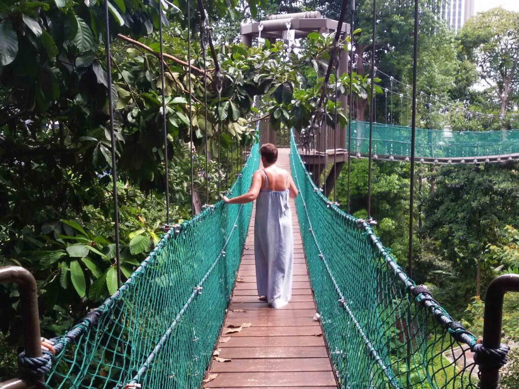 Renata Green crossing the canopy walkway at the KL Forest Eco Park