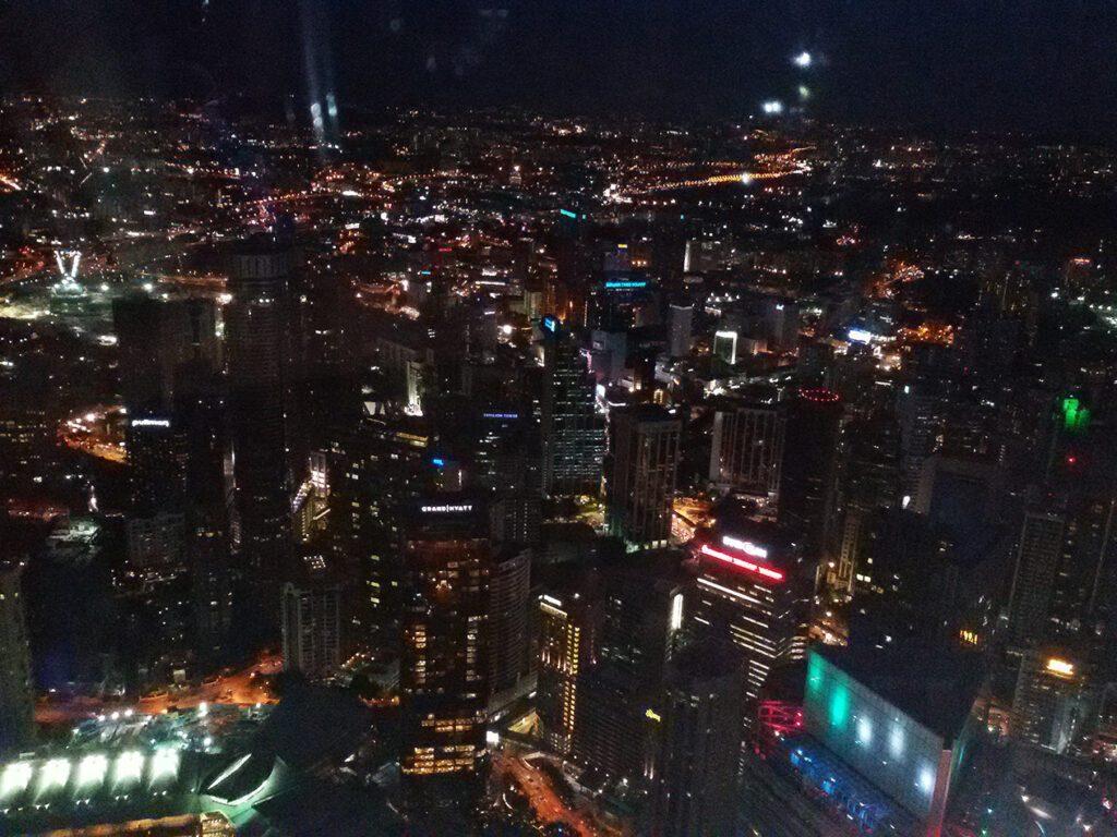 Night view from the bridge of the Petrona towers in Kuala Lumpur