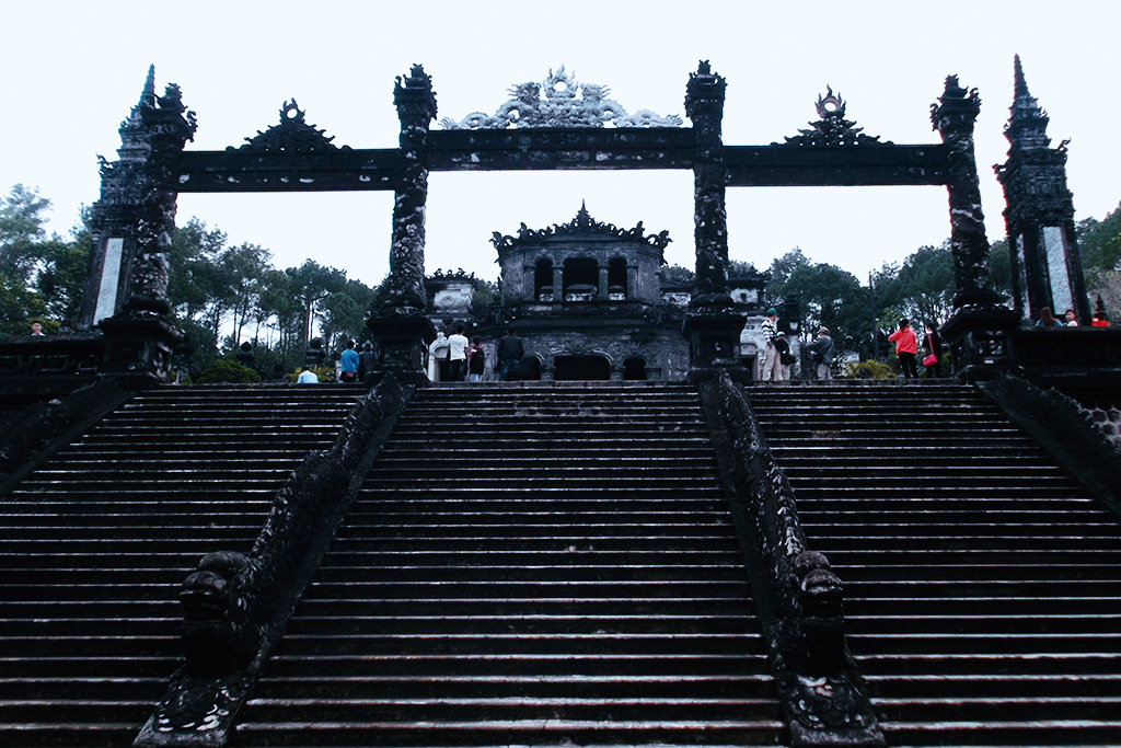 Stairs to the Lang Khai Dinh.
