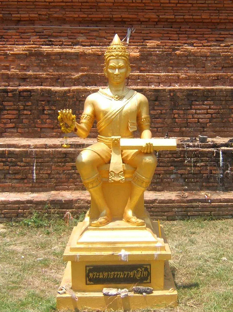 Statue of King Li Thai at the Wat Chedi Yot Thong in Phitsanulok