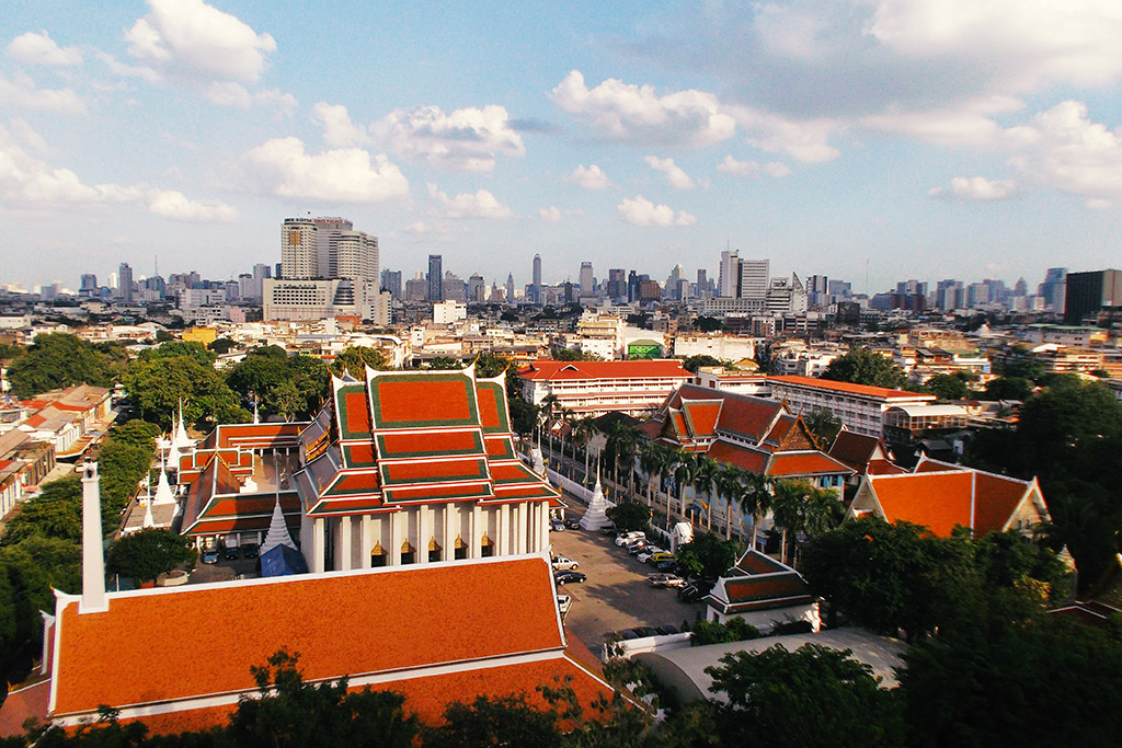 View of Bangkok from Wat Saket.