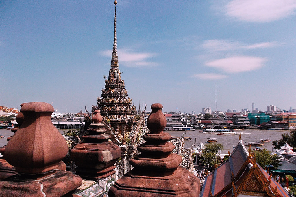 View of the Chao Phraya river from Wat Arun in Bangkok.