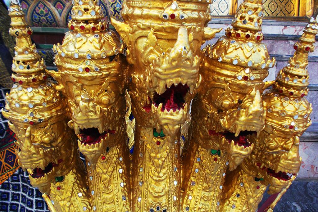 Five-headed Naga at the Wat Phra Kaeo in Bangkok