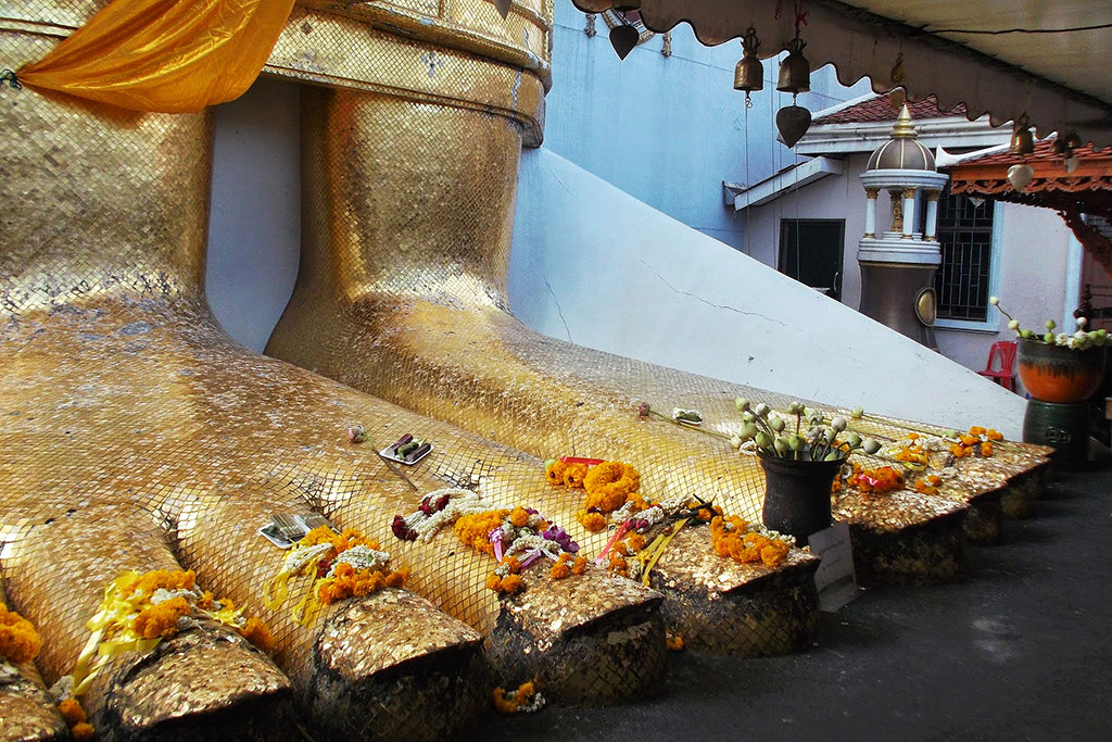 Buddha's feet at Wat Indrawiharn in Bangkok when staying more than just one night.