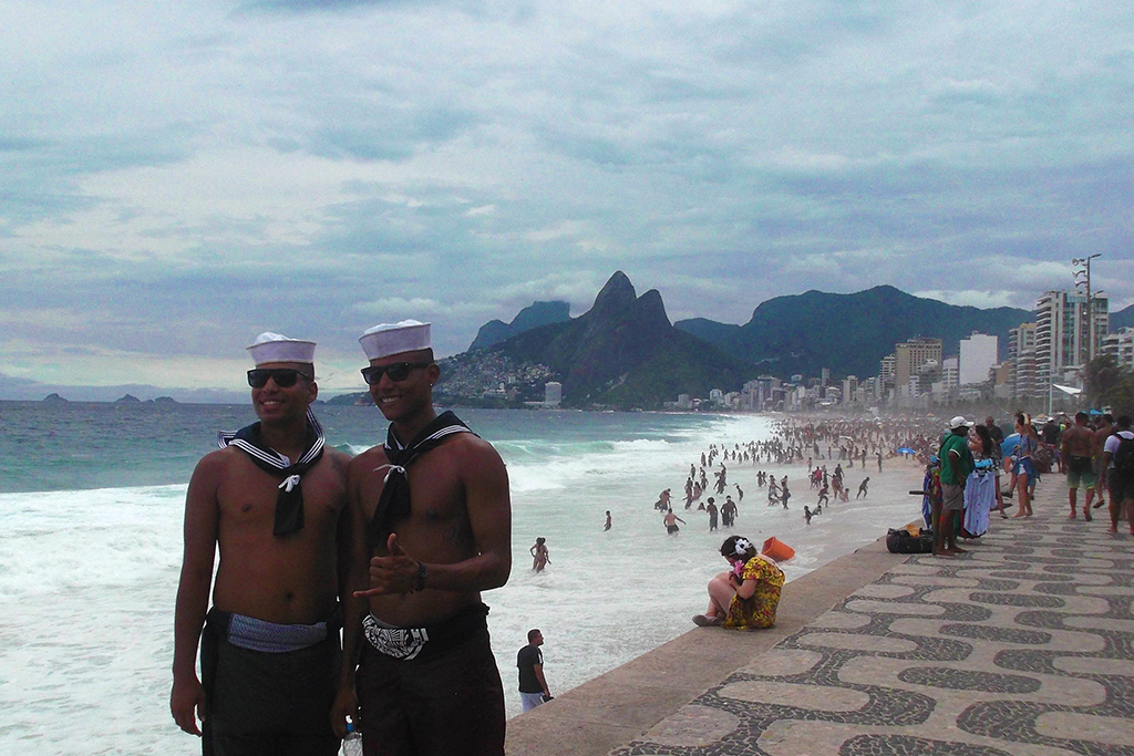 Two Men at the beach in Rio de Janeiro during the carnival