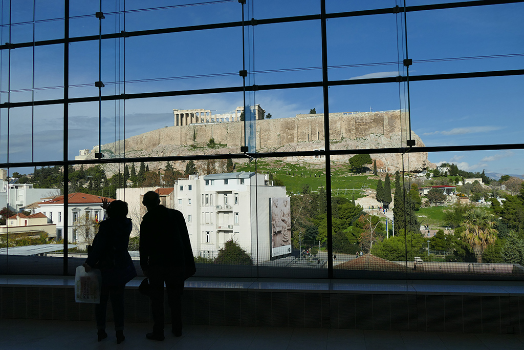 View of the Acropolis from the Acropolis Museum.