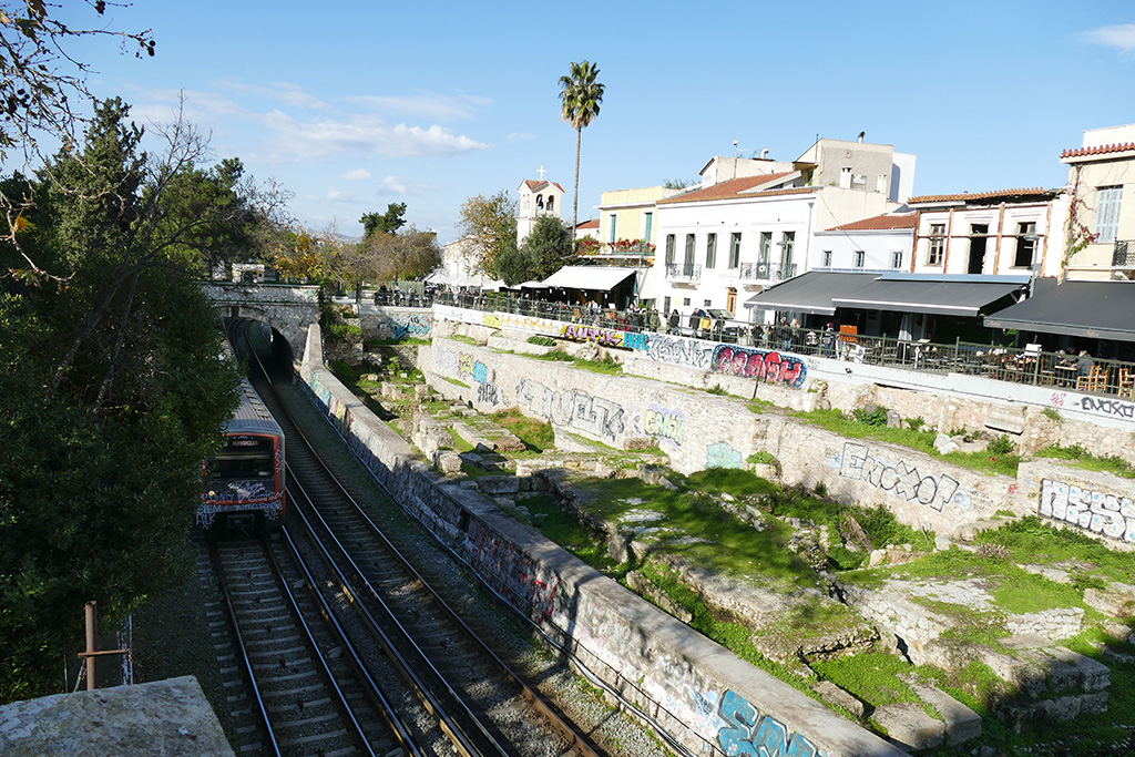 Subway rails in Athens