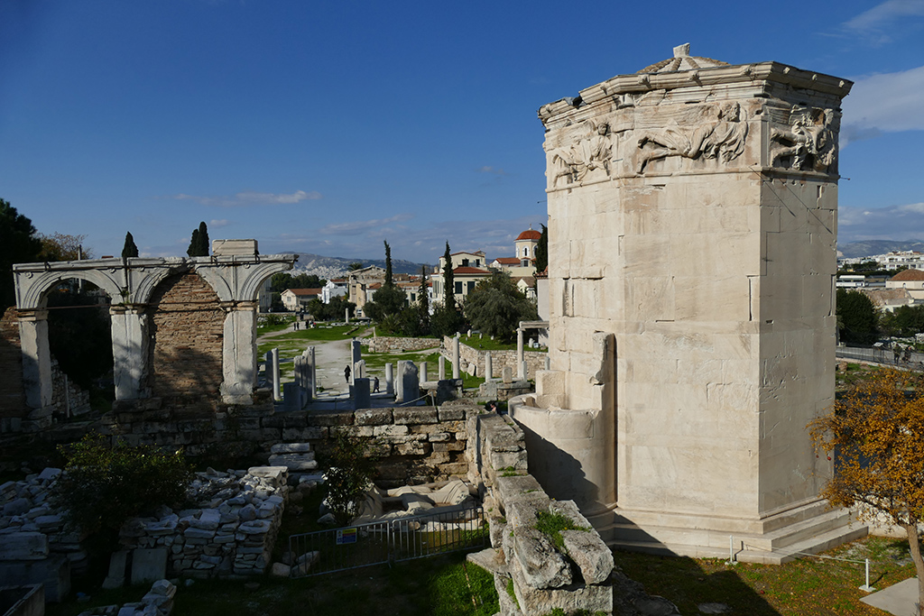 The Tower of the Winds, located at the Roman Agora, considered the world's first meteorological station.