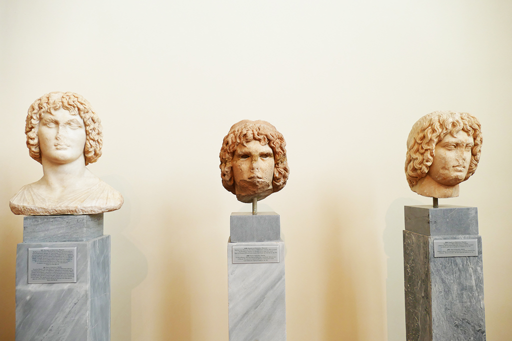 Heads of Eubouleus at the Archaeological Museum in Athens.