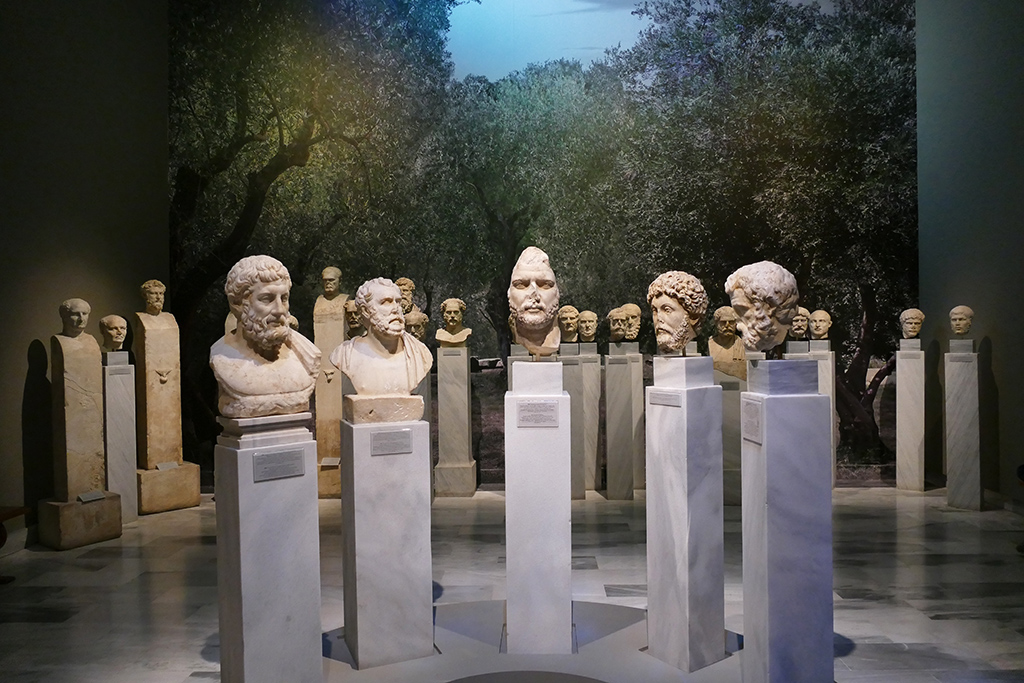 Busts of philosophers at the Archaeological Museum in Athens.