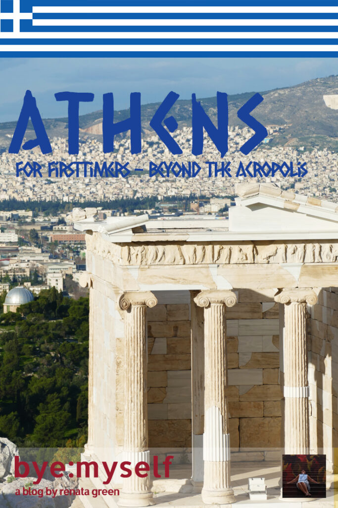 Pinnable PIcture for the Post on Athens for Firsttimers - Beyond the Acropolis. View of a temple in Athens