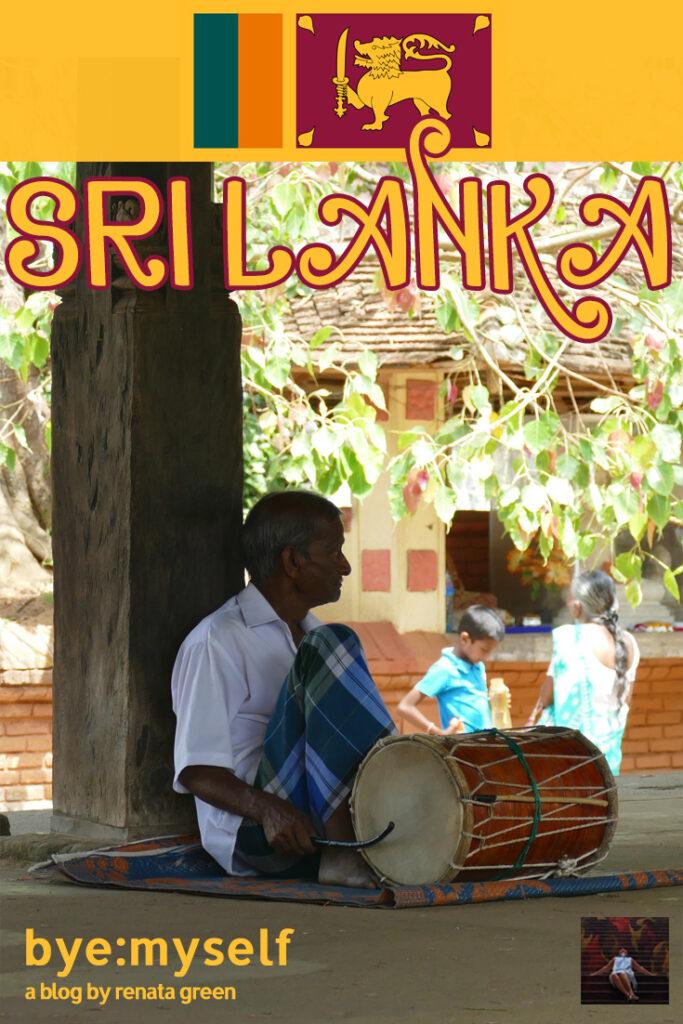 Man drumming at a temple in Sri Lanka
