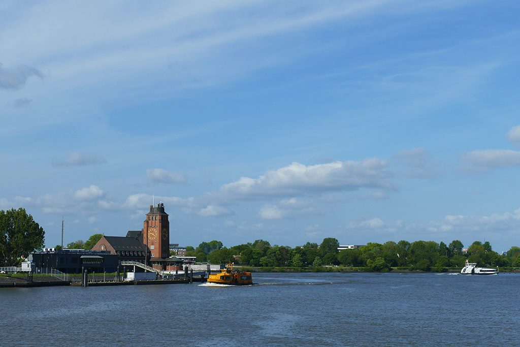 The shore of Finkenwerder across the river Elbe in Hamburg