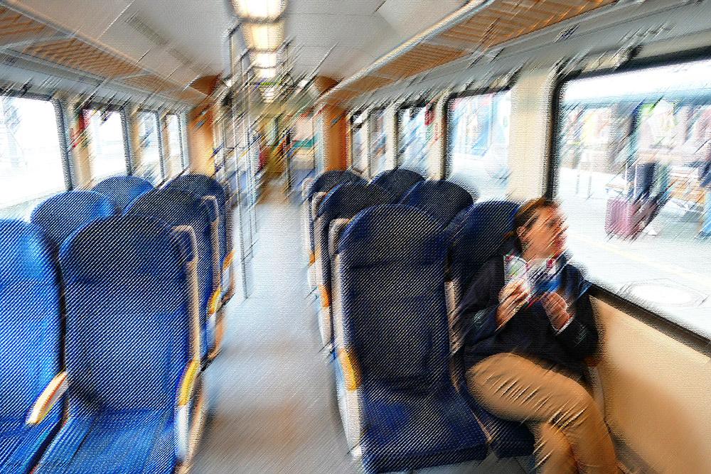 Renata Green on a train in Germany