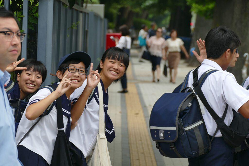 School kids in Tokyo, Japan
