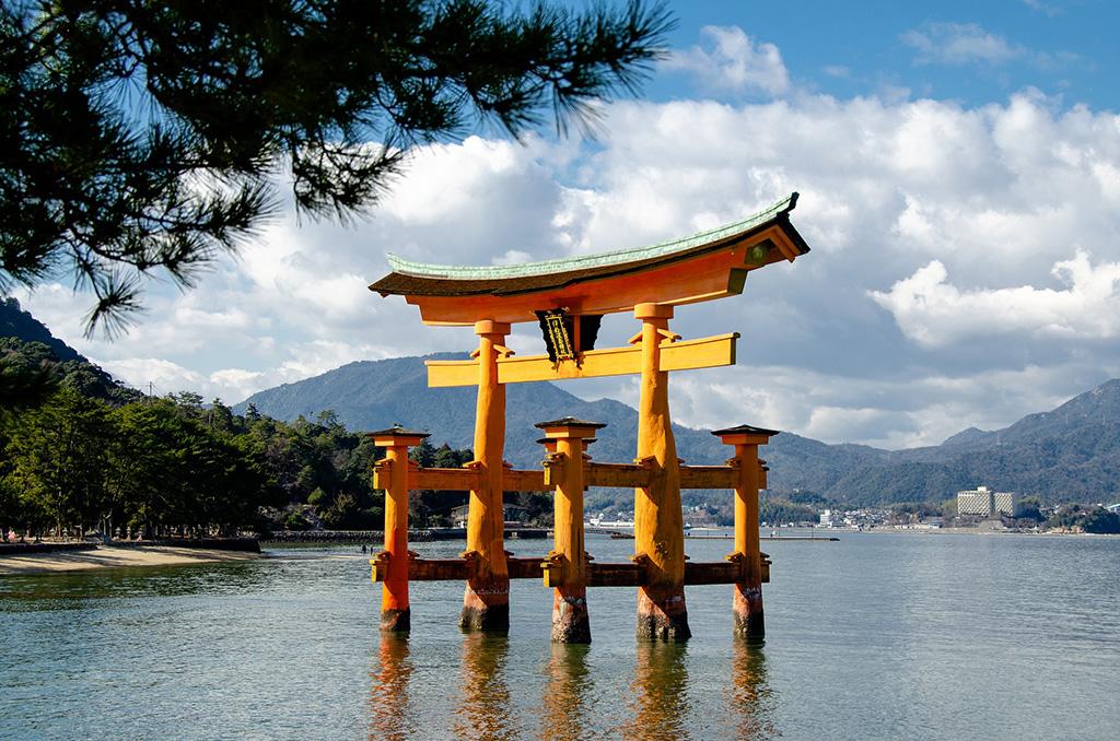 The Itsukushima Shrine with the famous floating Torii