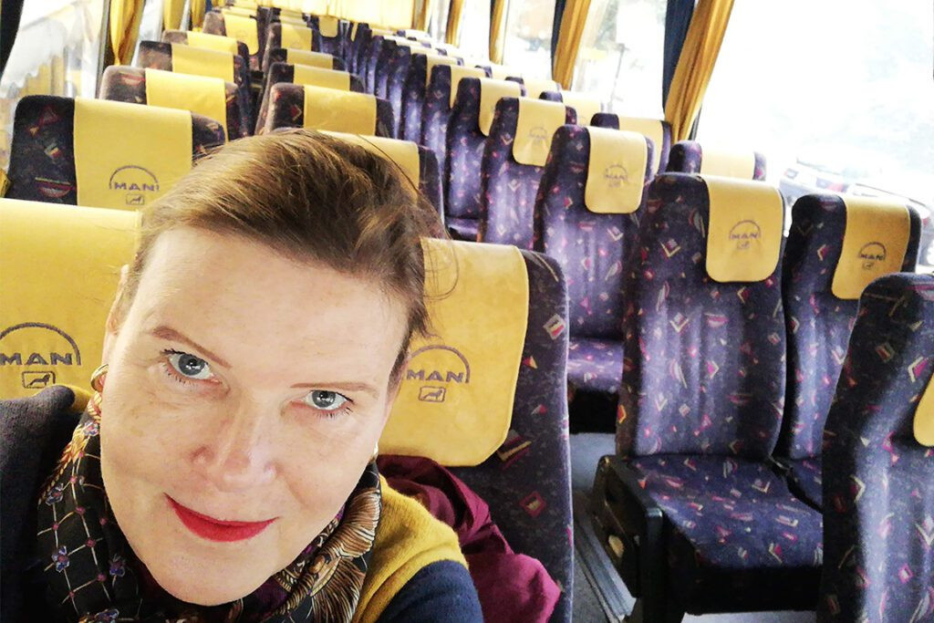 Renata Green on the bus from Delphi to Kalambaka in Greece