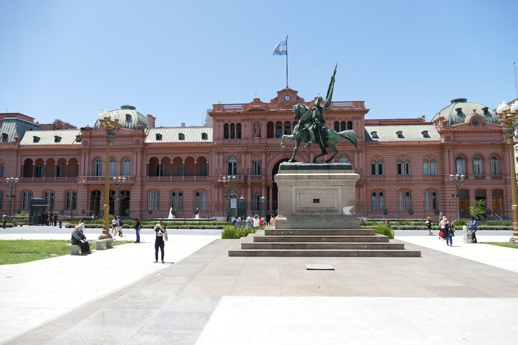 The famous Casa Rosada on the East Side of the Plaza de Mayo in Buenos Aires