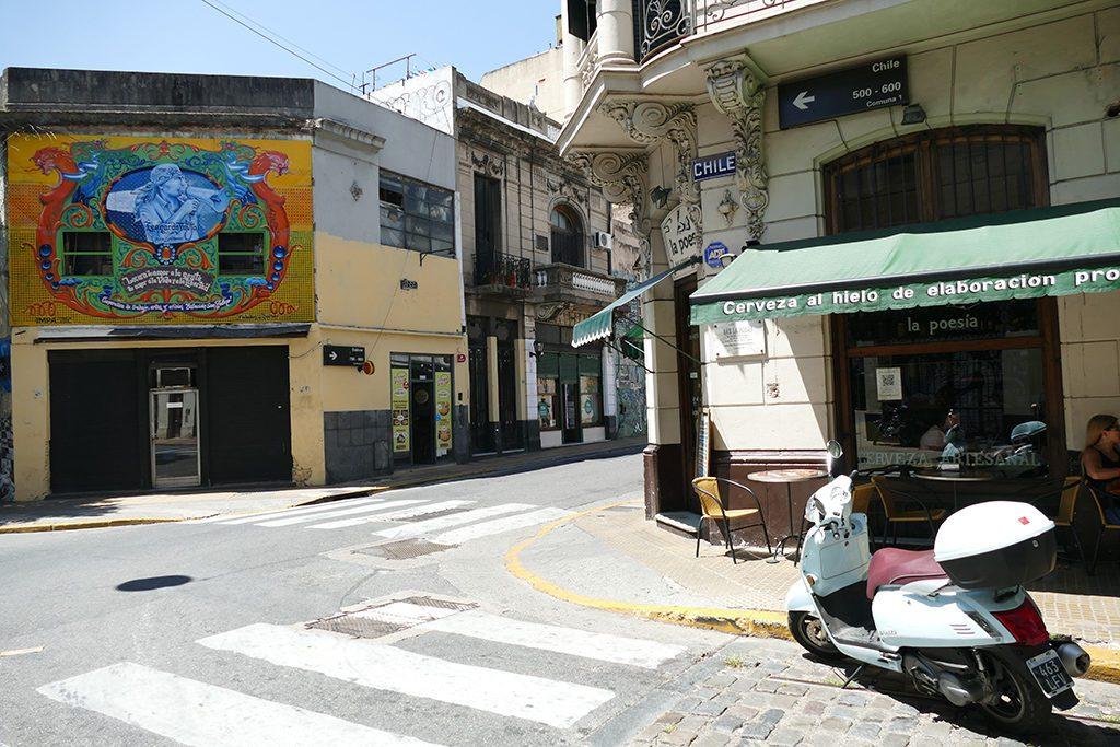 Corner streets in San Telmo, Buenos Aires.
