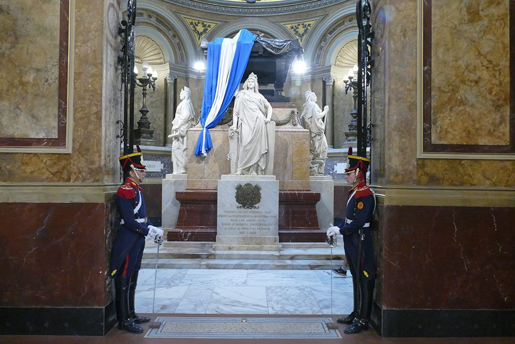 Mausoleum of General San Martín guarded by statues representing Argentina, Peru, and Chile at the Cathedral in Buenos Aires.