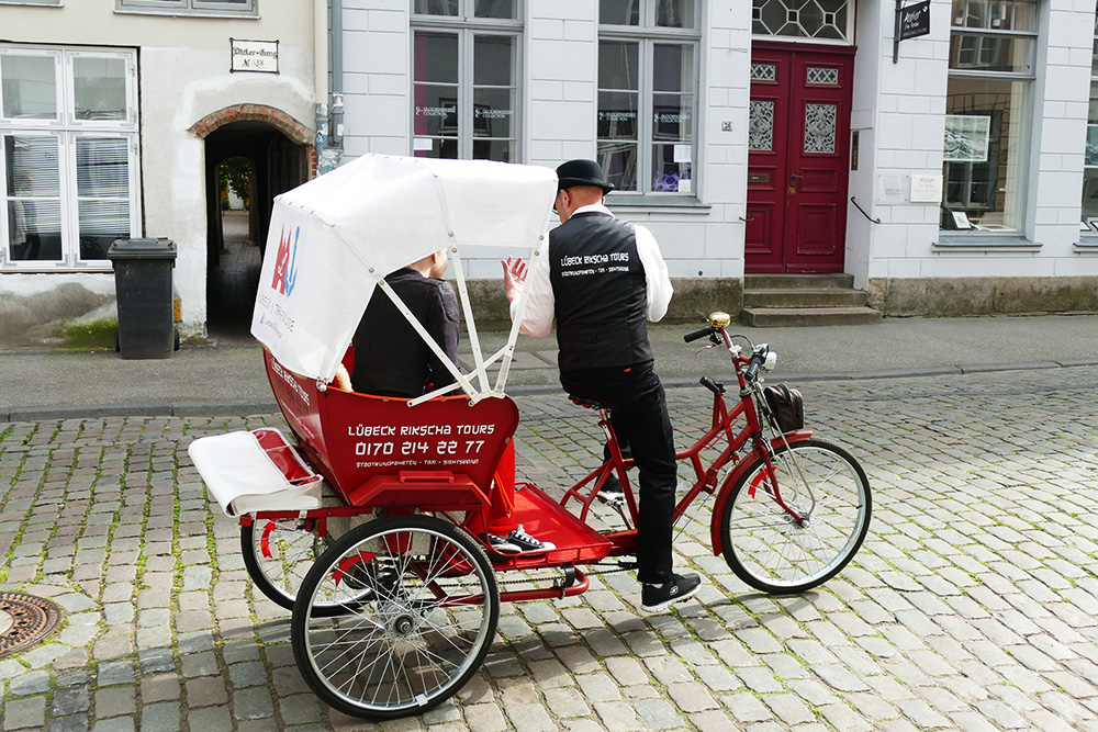 Rikshaw at the city of Lübeck in Germany