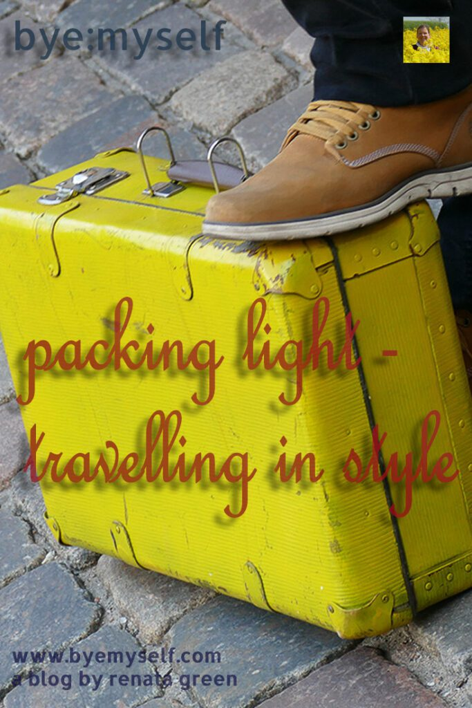 Pinnable Picture for the Post Packing Light - Travelling in Style showing a yellow suitcase