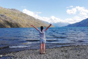 Renata Green standing on the shore of Lago Puelo close to El Bolson on a day trip from Bariloche,