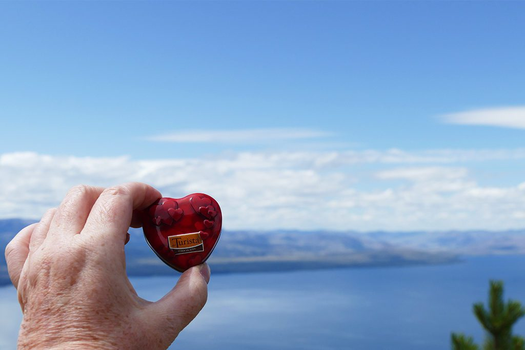 A chocolate heart in the backdrop of Lake Nahuel Huapi