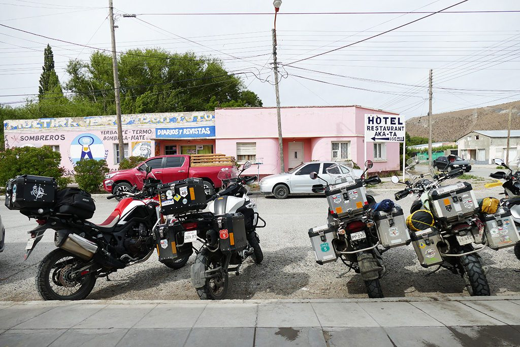 Motorbikes in Rio Mayo on the Ruta 40 in Patagonia, Argentina