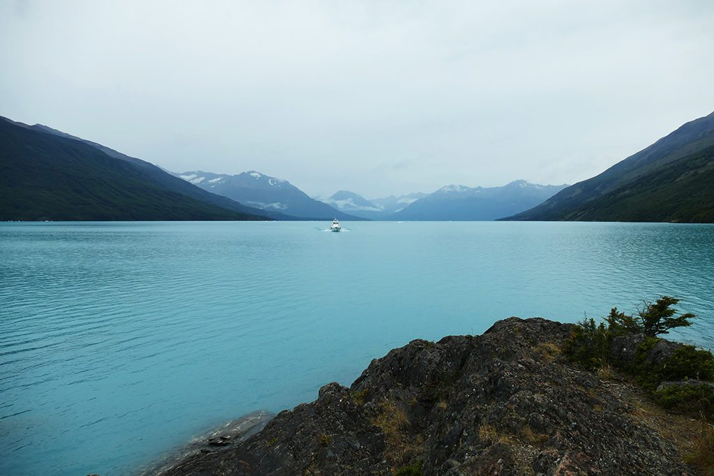 A boat on the Lago Argentino approaching the Perito Moreno Glacier