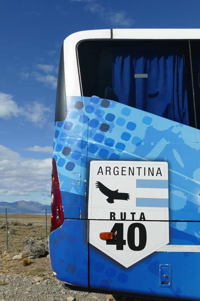 A day tour coach going from El Calafate to El Chalten across Patagonia