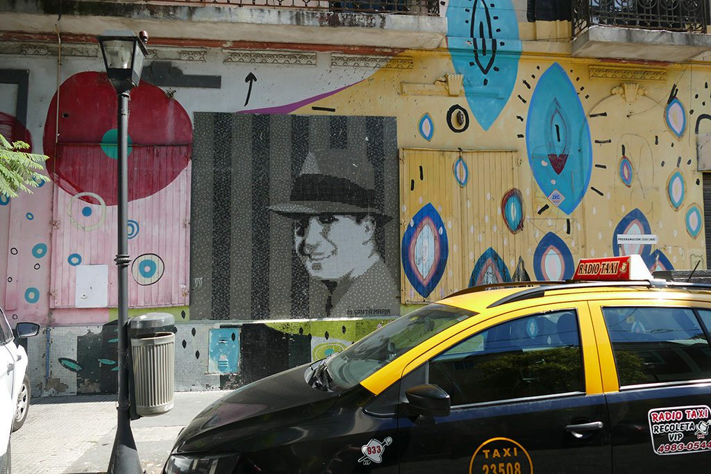A black and white mosaic of Carlos Gardel by Marino Santa Maria.