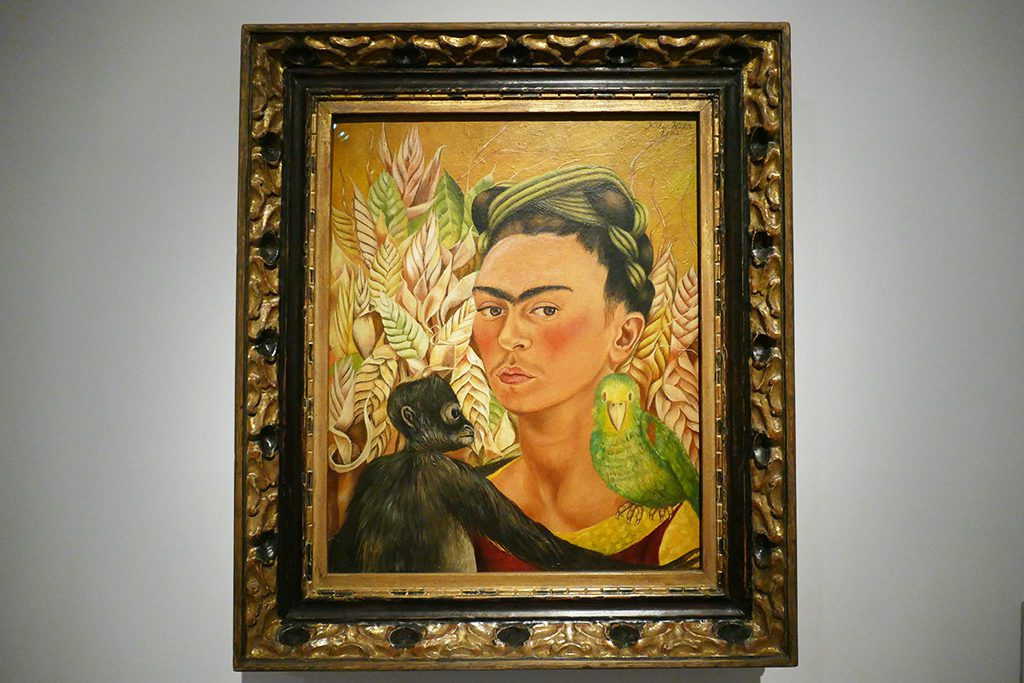 Self Portrait with Monkey and Parrot by Mexican Frida Kahlo