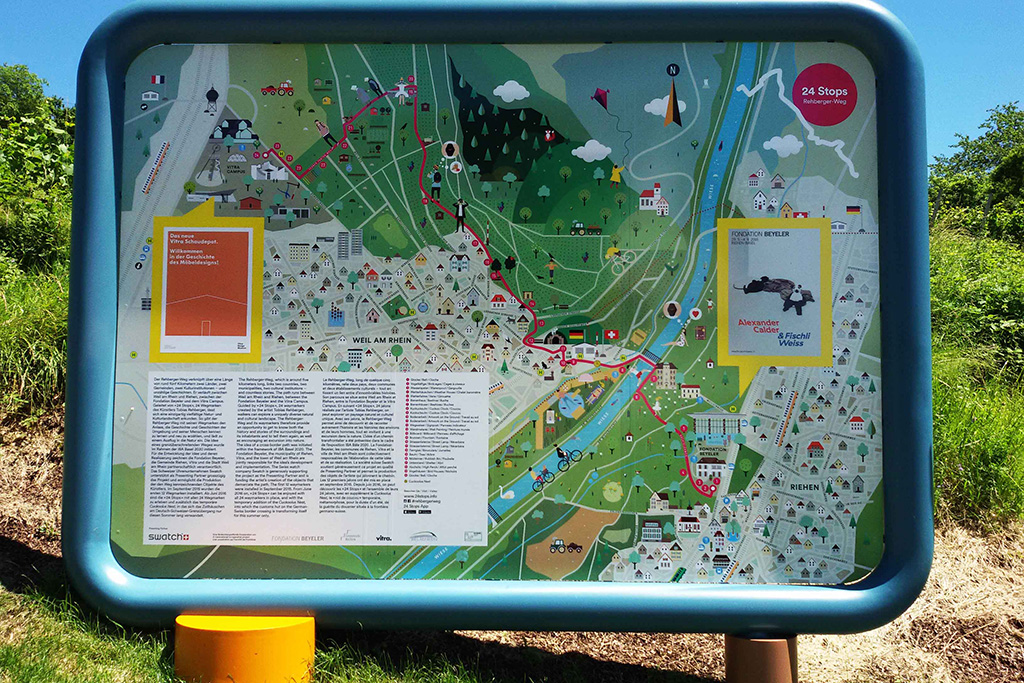 14. A billboard with the beautifully designed map of the trail - showing that you are at number fourteen.