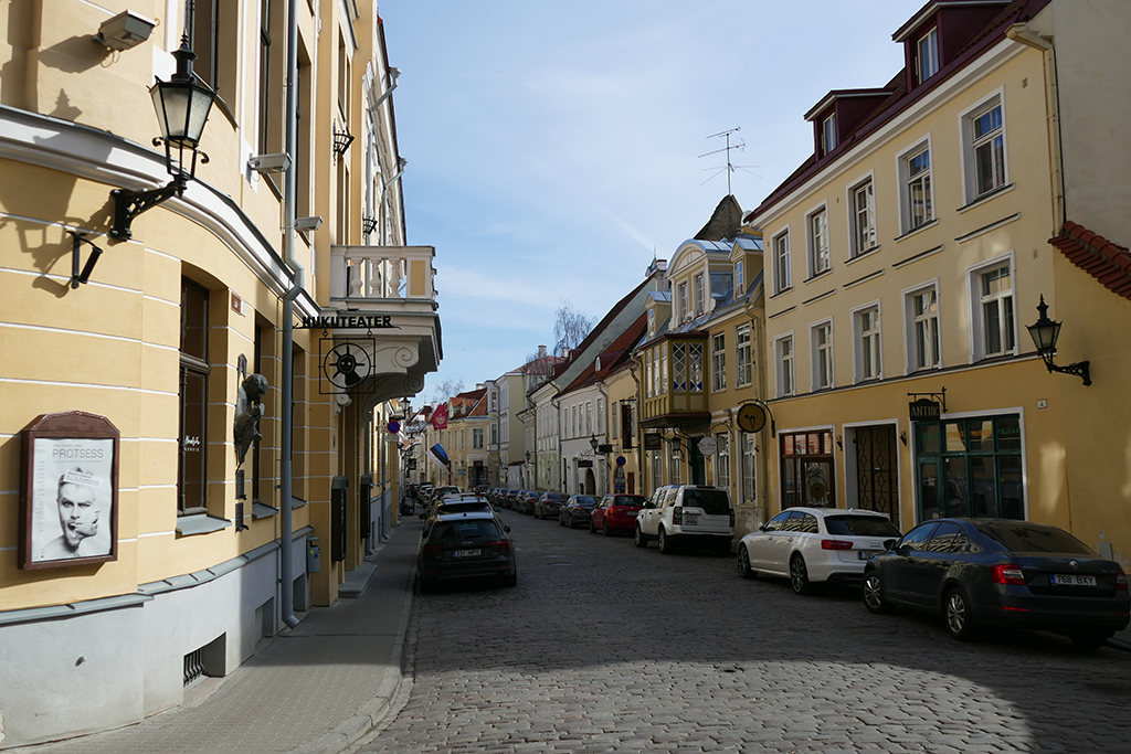 One of many cobblestone streets in the historic walled center of Tallinn