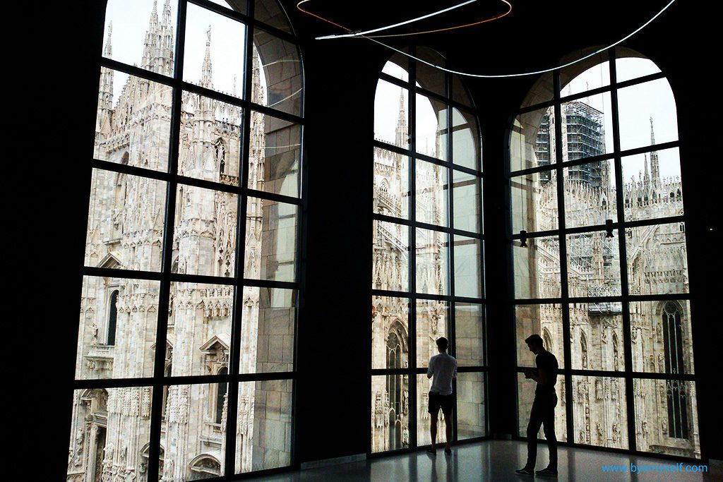 View of the Duomo from the Novecento Museum, both landmarks durinng 24 hours in Milan