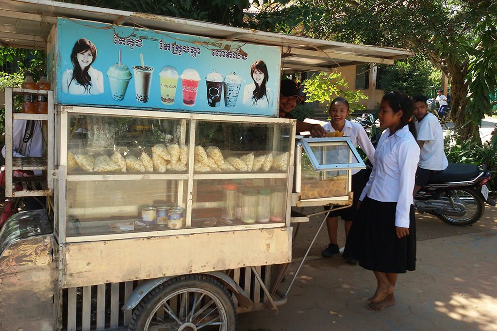 Students buying snacks in Siem Reap