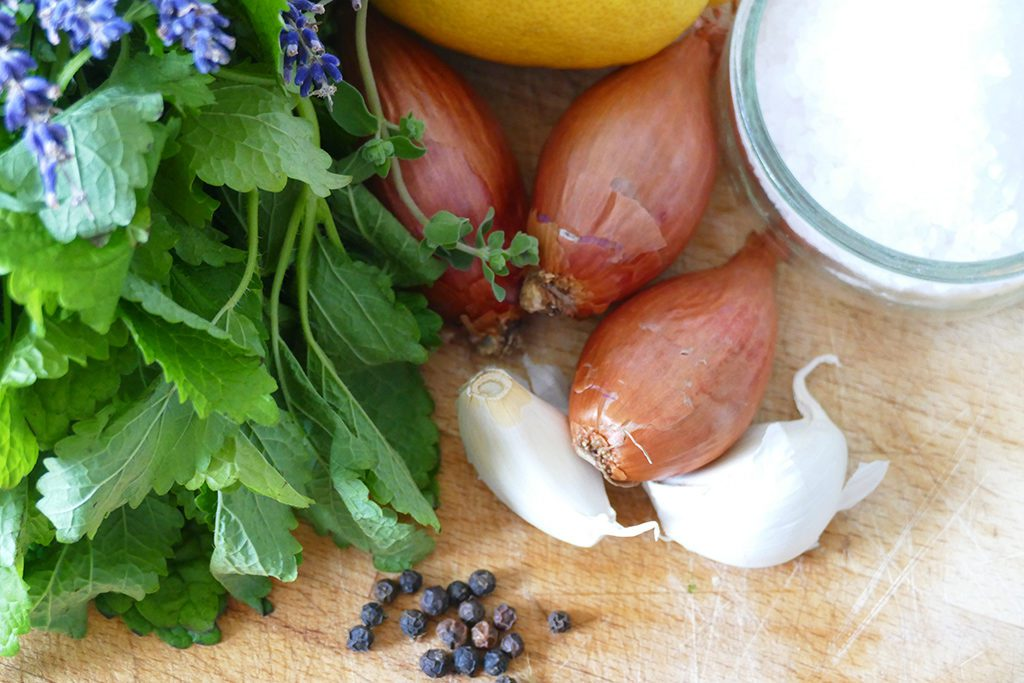 Ingredients for pickled and potted produce.