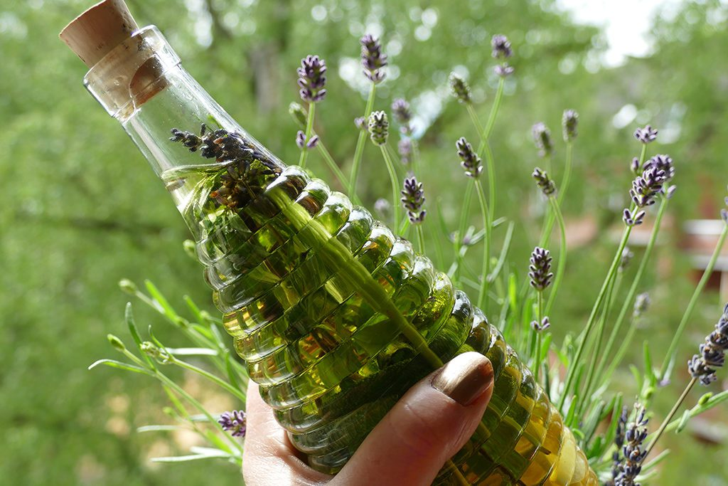 Infused Oil, potted in a glass bottle