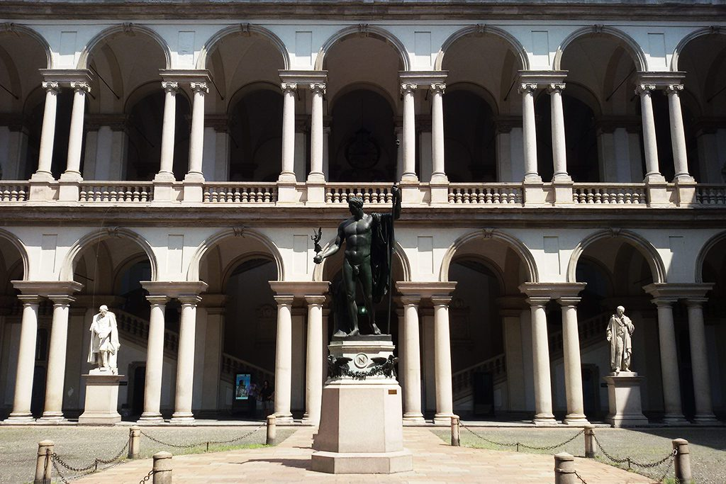 Statues in the courtyard of the Palazzo di Brera with Napoleon as Mars the Peacemaker by Antonio Canova in the very center.