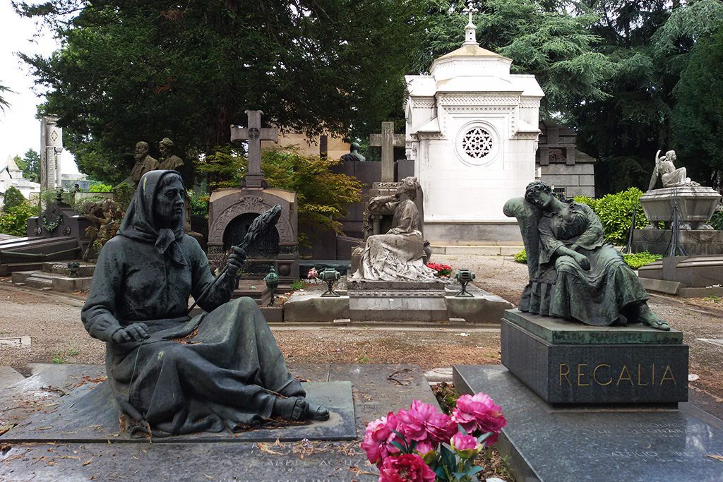 Gravestones at the Cimitero Monumentale in Milan