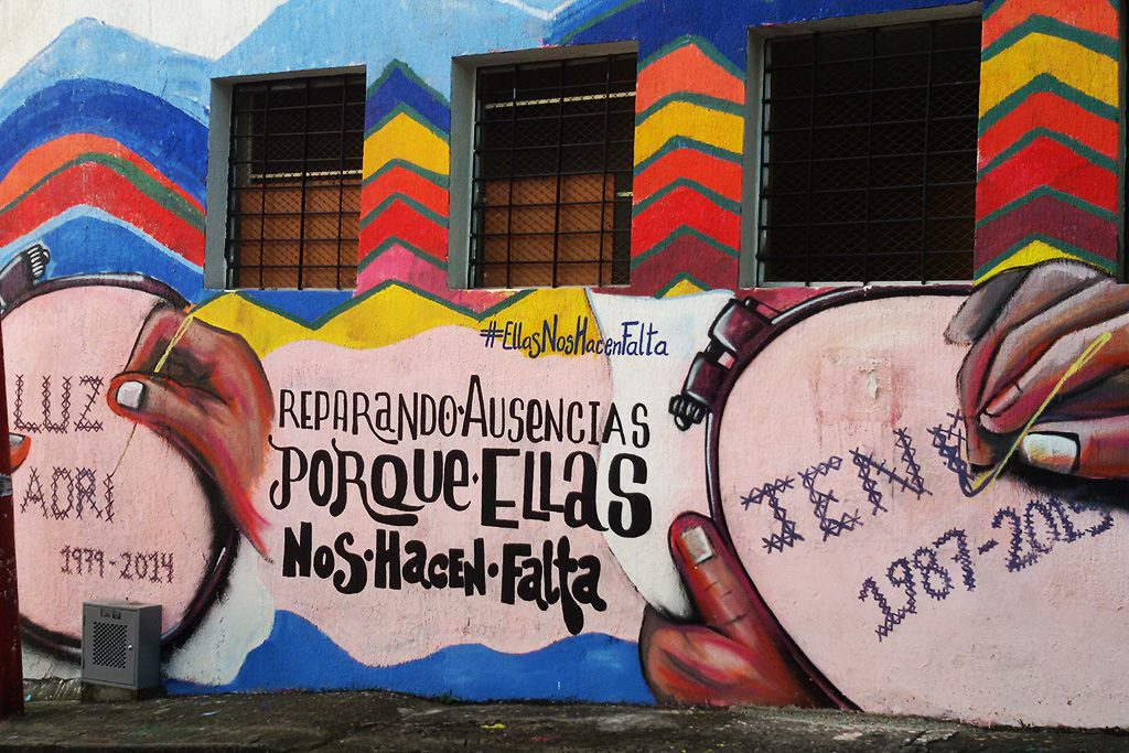 A reminder of disappeared women on a mural in Cali, Colombia.