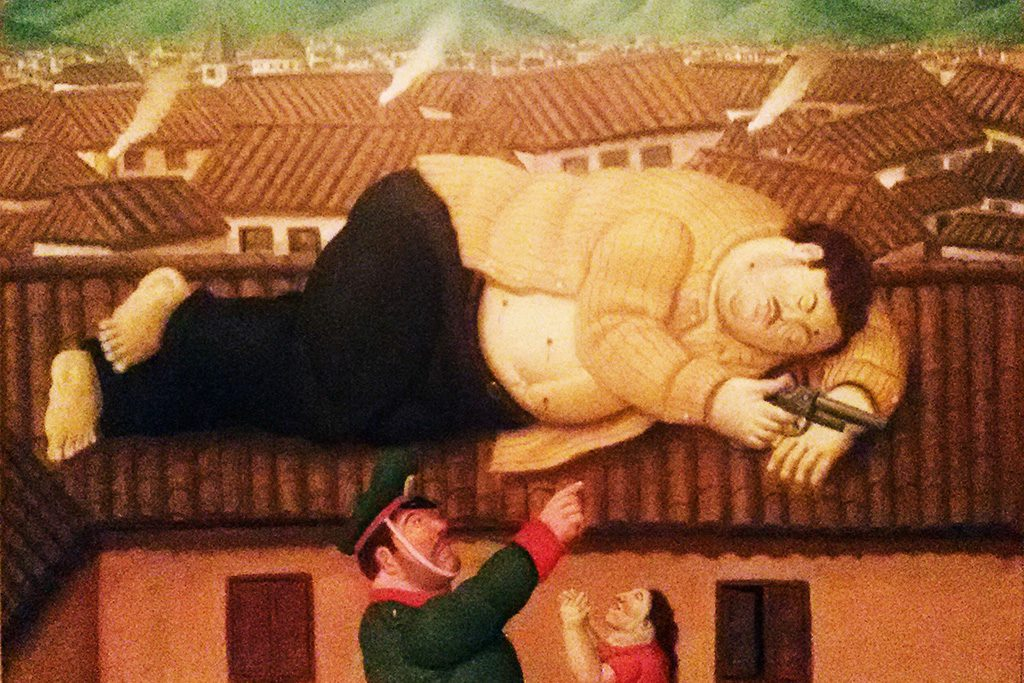 Fernando Botero La Muerte de Pablo Escobar. One of the drug baron's mansions was between Medellín and Guatapé