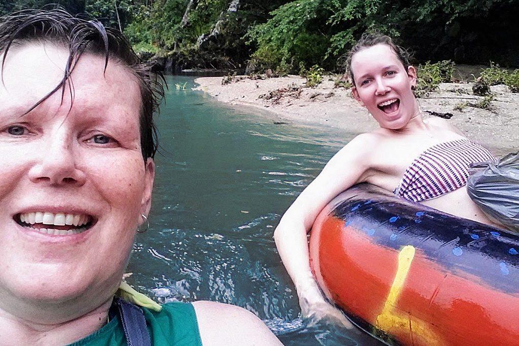 Two women floating on Rio Palomino