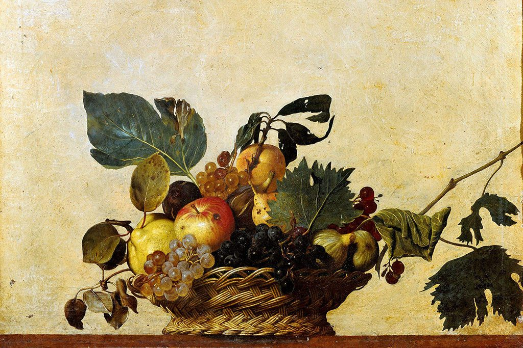 Basket of Fruit, one of the very few still life paintings by  Italian Baroque master Michelangelo Merisi da Caravaggio