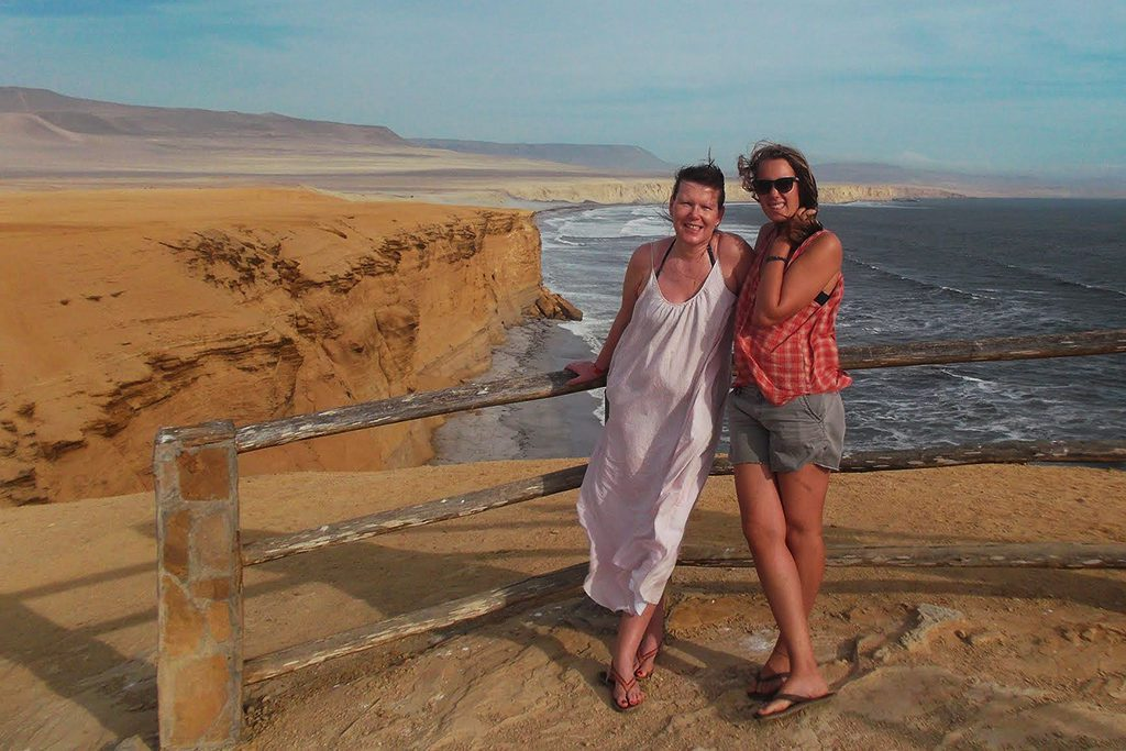Two women on the coast of Paracas