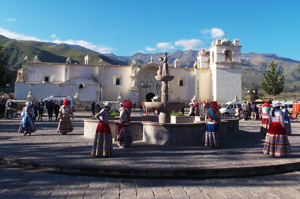 Traditional dancers are welcoming tourists at Chivay - located between Arequipa and the Colca Canyon.