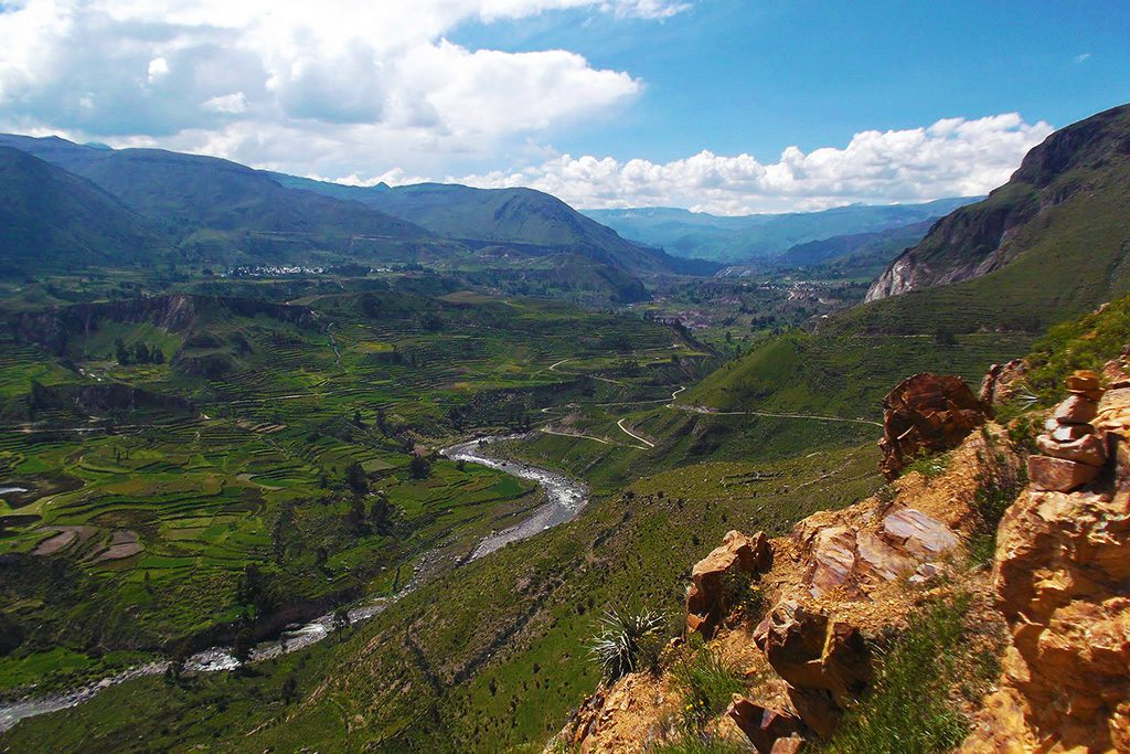 The Colca River empties about 300 kilometers further south near the town of Camaná into the Pacific Ocean.